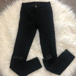 Zara Black Busted Knee Skinny Jeans Sz 4